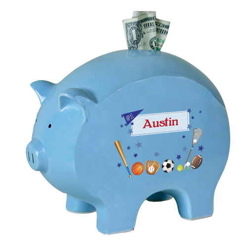 Personalized Blue Piggy Bank with Sports design