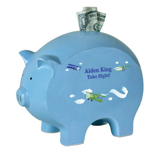 Personalized Blue Piggy Bank -Airplane