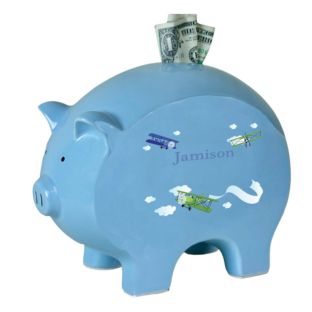 Personalized Blue Piggy Bank with Airplane design