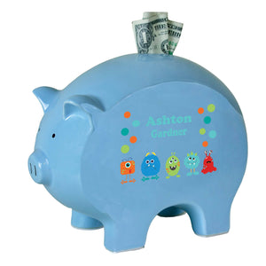 Personalized Blue Piggy Bank - Monsters