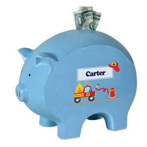 Personalized Blue Piggy Bank with Fire Truck design