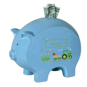 Personalized Blue Piggy Bank with Green Tractor design