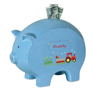 Personalized Blue Piggy Bank with Red Tractor design