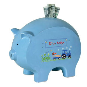 Personalized Blue Piggy Bank with Blue Tractor design
