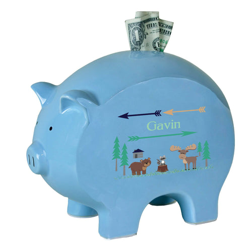 Personalized Blue Piggy Bank with North Woodland Critters design