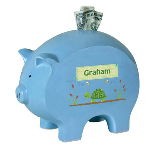 Personalized Blue Piggy Bank with Turtle design