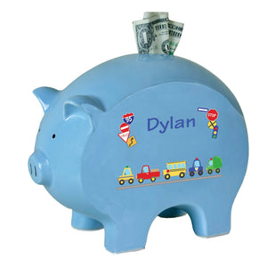 Personalized Blue Piggy Bank with Cars and Trucks design