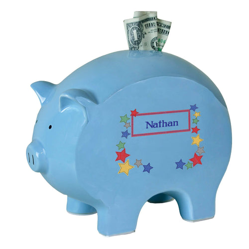 Personalized Blue Piggy Bank with Stitched Stars design