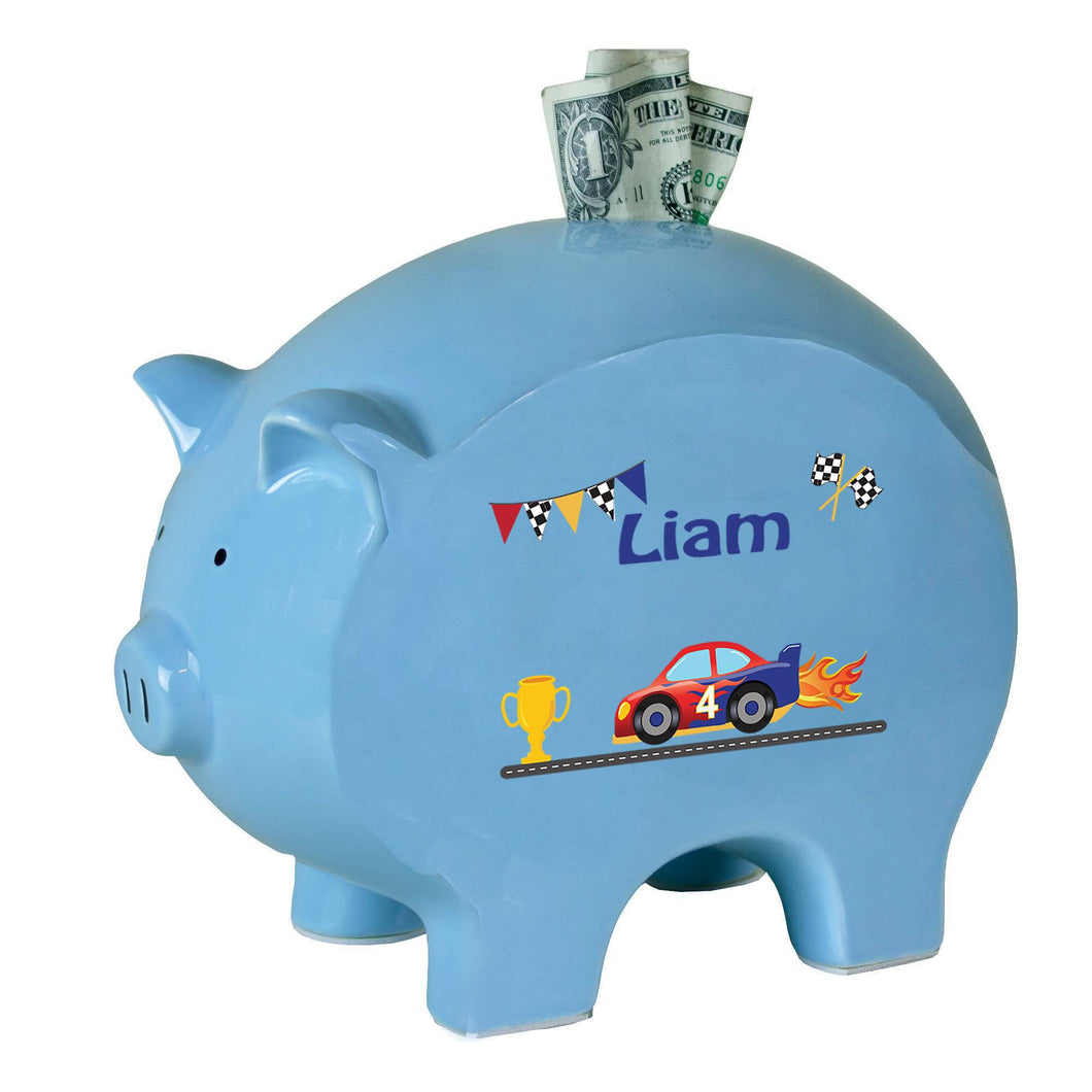 Personalized Blue Piggy Bank with Race Cars design
