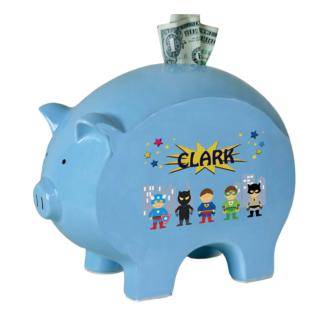 Personalized Blue Piggy Bank with Superhero design