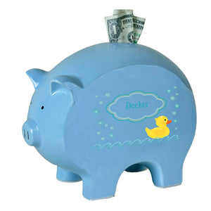 Personalized Blue Piggy Bank with Rubber Ducky design