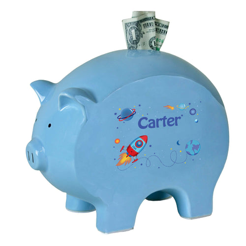 Personalized Blue Piggy Bank with Rocket design