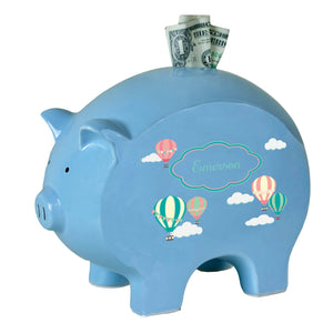 Personalized Blue Piggy Bank with Hot Air Balloon design