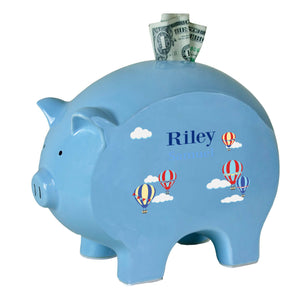 Personalized Blue Piggy Bank - Hot Air Balloon