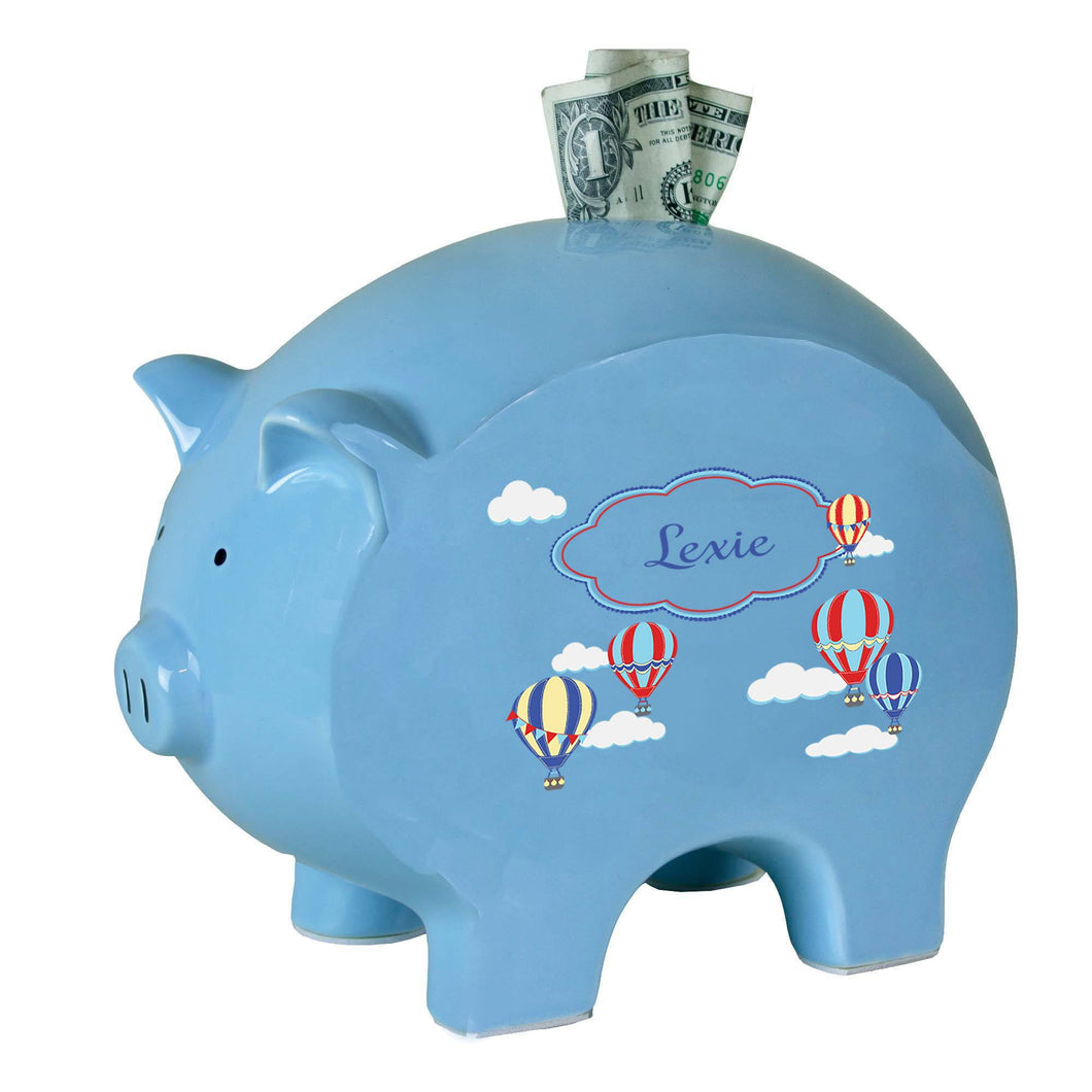 Personalized Blue Piggy Bank with Hot Air Balloon Primary design