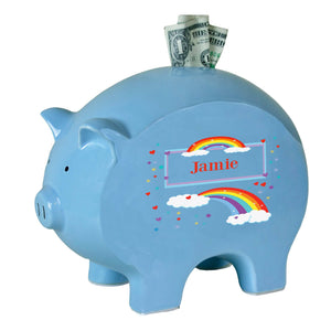 Personalized Blue Piggy Bank with Rainbow design