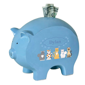 Personalized Blue Piggy Bank with Blue Cats design