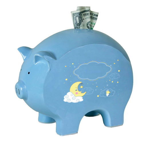 Personalized Blue Piggy Bank with Moon and Stars design