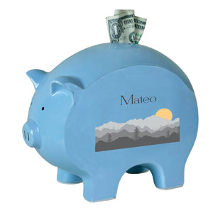 Personalized Blue Piggy Bank with Misty Mountain design