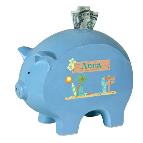 Personalized Blue Piggy Bank with Surf'S Up design