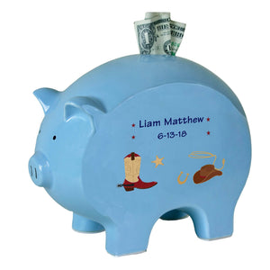 Personalized Blue Piggy Bank with Wild West design