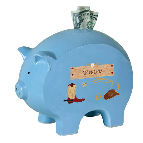 Personalized Blue Cowboy Piggy Bank