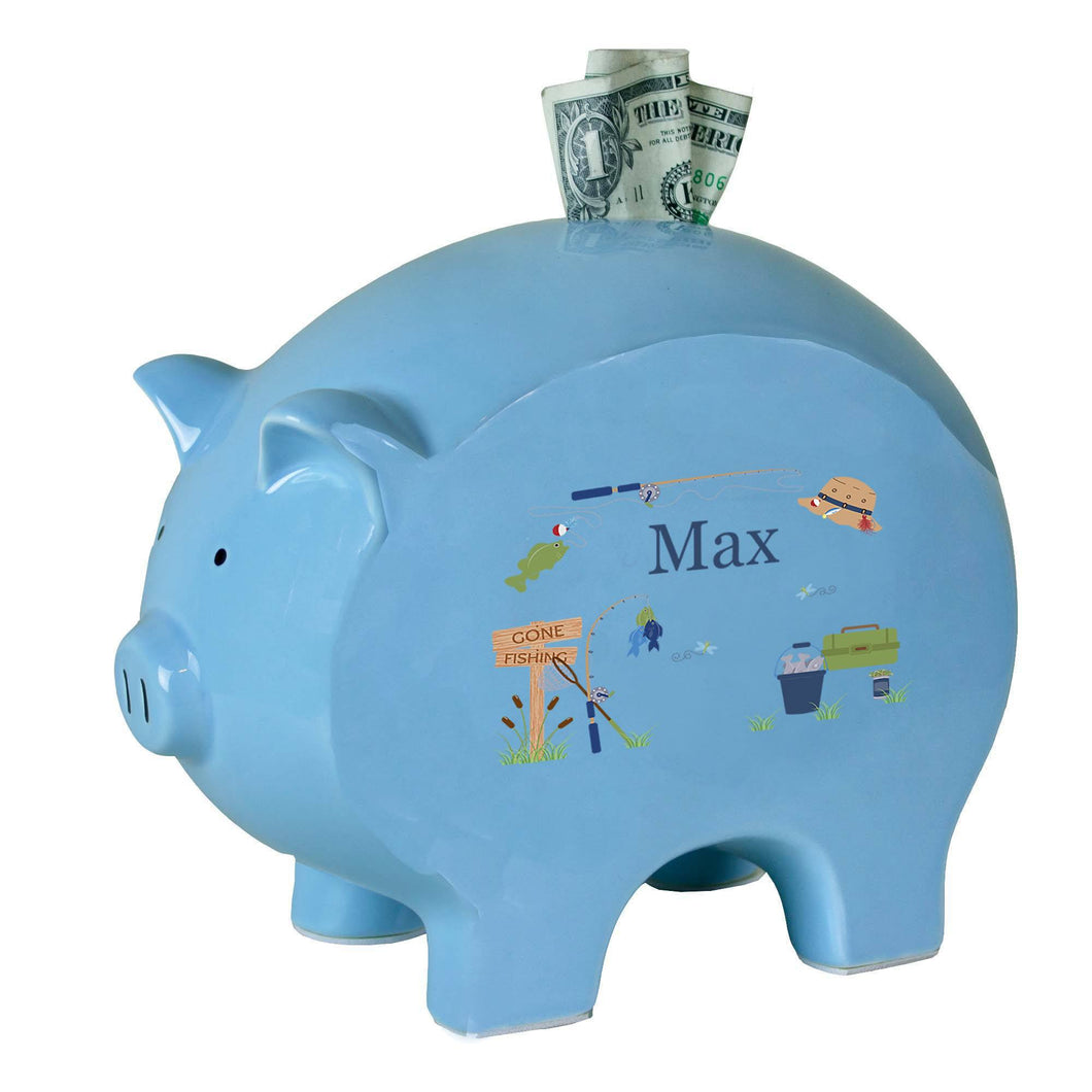 Personalized Blue Piggy Bank with Gone Fishing design