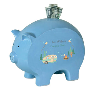 Personalized Blue Piggy Bank - Camp S'mores