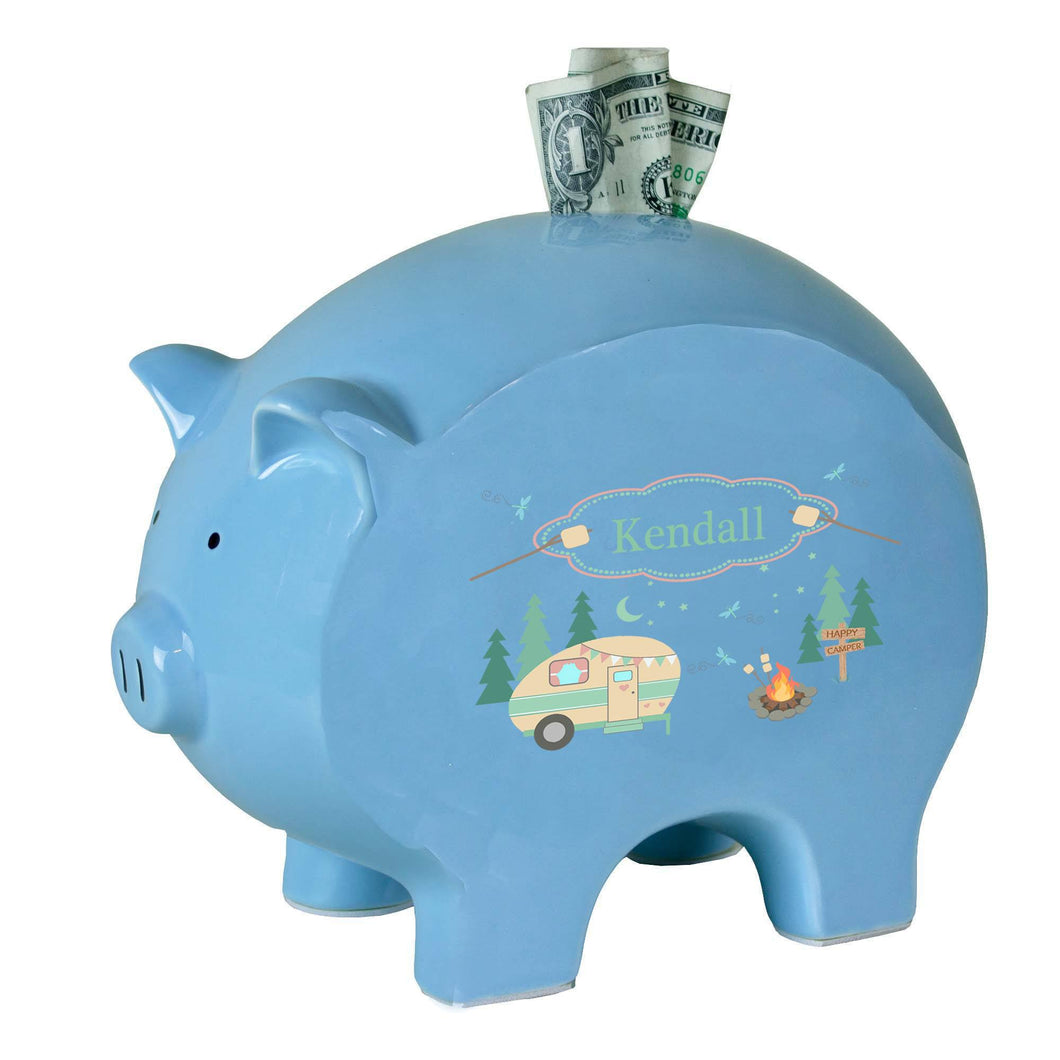 Personalized Blue Piggy Bank with Camp Smores design