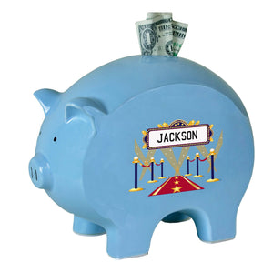 Personalized Blue Piggy Bank with A Star Is Born Blue design