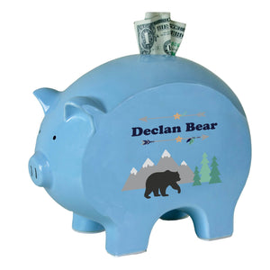 Personalized Blue Piggy Bank with Mountain Bear design