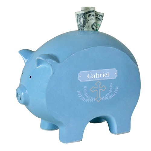 Personalized Blue Piggy Bank with Cross Garland Lt Blue design