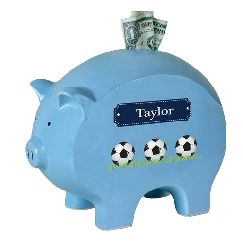 Personalized Blue Soccer Piggy Bank