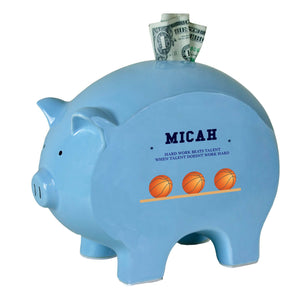 Personalized Blue Piggy Bank - Basketball
