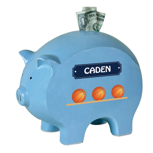Personalized Blue Basketball Piggy Bank