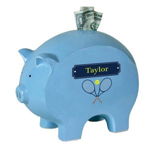 Personalized Blue Piggy Bank with Tennis design