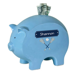 Personalized Blue Piggy Bank with Lacrosse Sticks design