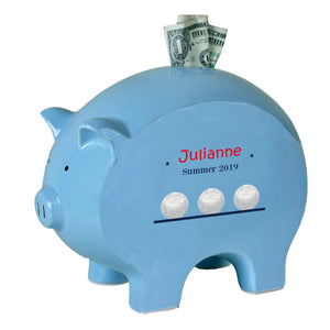Personalized Blue Piggy Bank - Volleyball