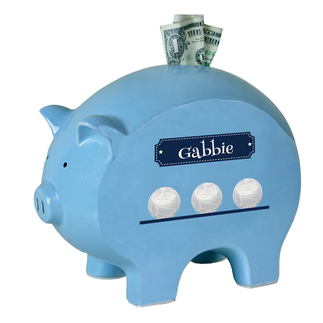 Personalized Blue Piggy Bank with Volley Balls design