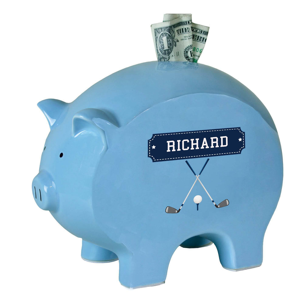 Personalized Blue Piggy Bank with Golf design