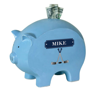 Personalized Blue Piggy Bank with Ice Hockey design