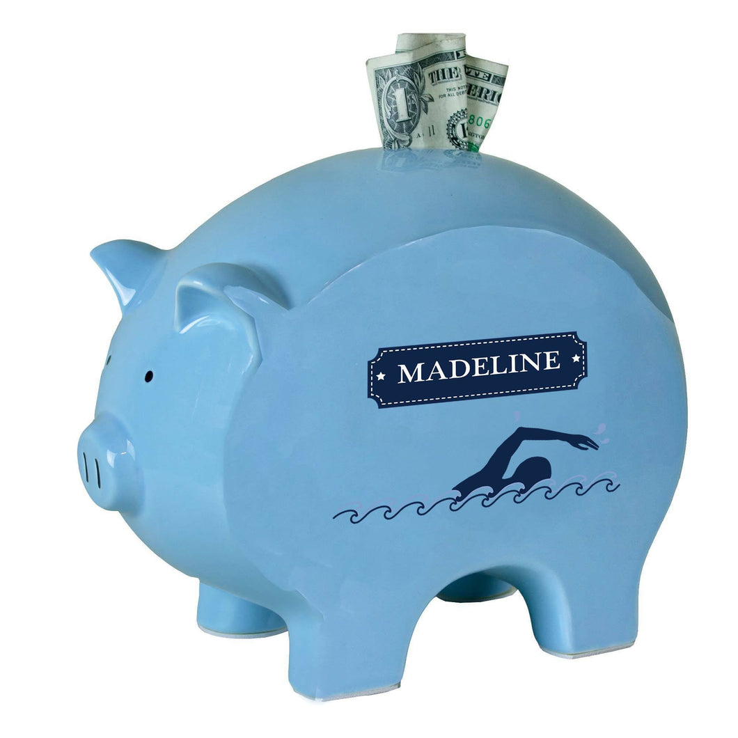 Personalized Blue Piggy Bank with Swim design