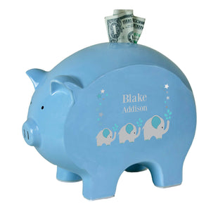 Personalized Blue Piggy Bank - Teal Elephant