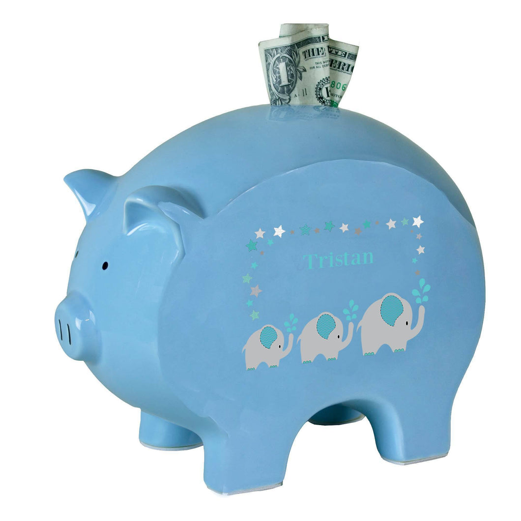 Personalized Blue Piggy Bank with Grey and Teal Elephant design