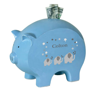 Personalized Blue Piggy Bank with Gray Elephant design