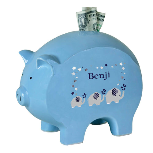 Personalized Blue Piggy Bank with Navy Elephant design