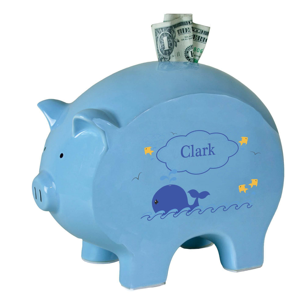 Personalized Blue Piggy Bank with Blue Whale design