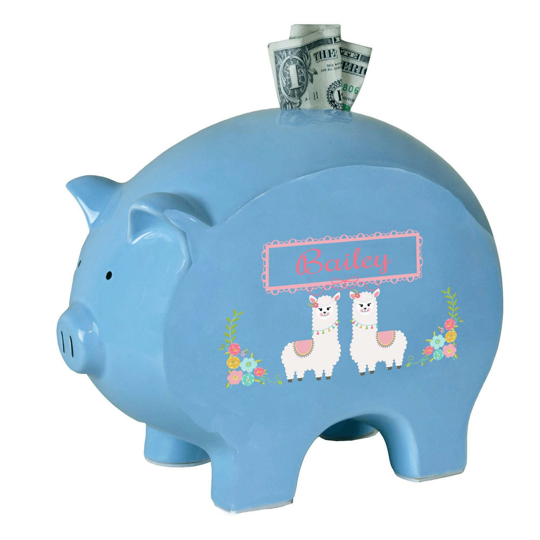 Personalized Blue Piggy Bank with Alpaca Llama design