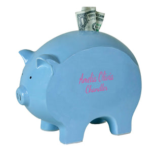 Personalized Blue Piggy Bank with monogram name