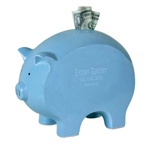 Personalized Blue Piggy Bank - Name Only